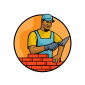 Mascot illustration of a black African American bricklayer or mason, laying bricks to construct brickwork masonry set inside circle on isolated white background done in retro style. poster