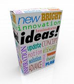 The word Ideas on a product box you could buy at a store for instant inspiration, innovation, concepts, brainstorms, inventions and plans poster