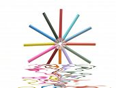 Close-up of a variety of color pencils reflected in water poster
