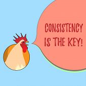 Word writing text Consistency Is The Key. Business concept for full Dedication to a Task a habit forming process poster