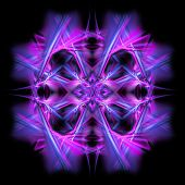 Abstract symmetrical fractal background isolated on black poster