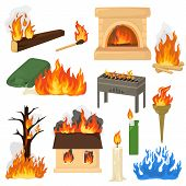 Fire flame vector fired flaming bonfire in fireplace and flammable campfire illustration fiery set of flamy torchlight or lighting flambeau isolated on white background poster