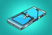 smartphone phone mousetrap. trap and dangers. Comic cartoon pop art retro vector illustration poster