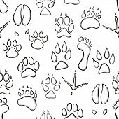 black & white seamless pattern with animal paws poster
