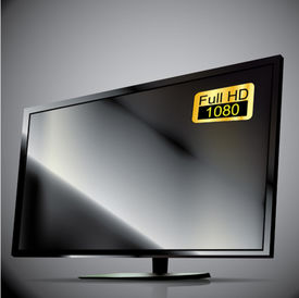 Vector Black Plasma TV. 3D