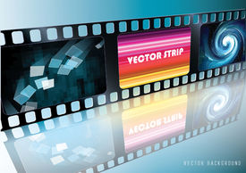 Vector Film Strip with picture and reflection