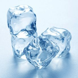 Heap Of Pure Blue Ice Cubes On Blue Background