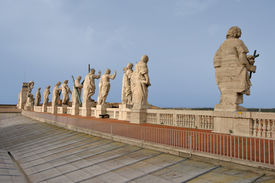 Apostle Statues On St. Peters Basilica In Rome