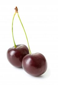 Two Ripe Cherry Isolated On White Background
