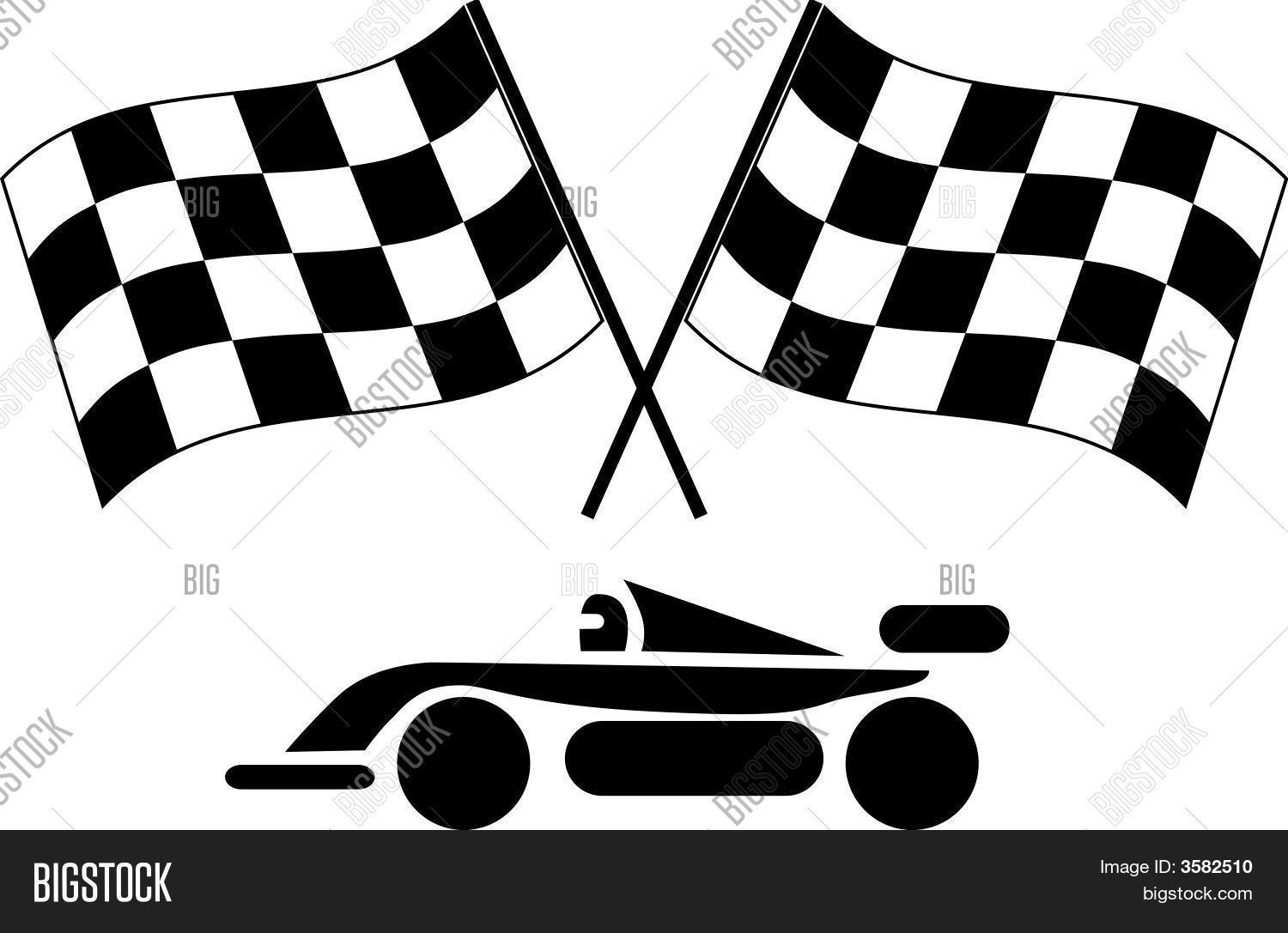 Vector Ilration Of A Pair Checkered Flags And Racing Car