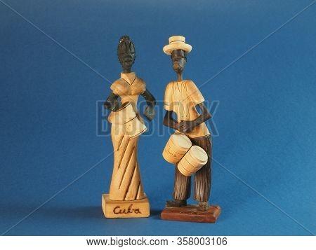 Souvenir Cuban With A Cuban Woman With Drums. Souvenir From Cuba
