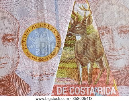Approach To Costa Rican Banknotes Of 1000 Colones, Background And Texture