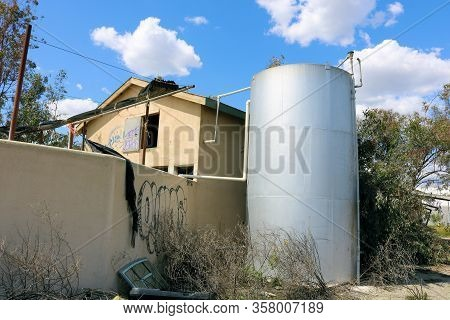 March 26, 2020 In Chino, Ca:  Abandoned Dairy Farm Including A Silo And Shed Where They Used To Clea