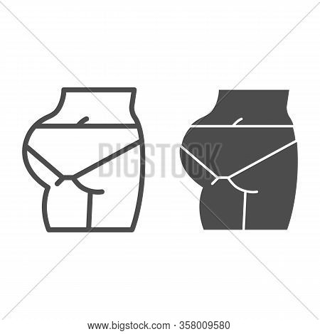 Fit Ass Line And Solid Icon. Female Fitness Model With Buttocks Symbol, Outline Style Pictogram On W