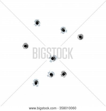 Illustration Of Randomly Grouped Bullet Holes, Pierced Target And Penetration Marks