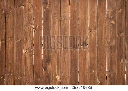 Wood background, texture. Wooden empty board planks floor or wall material. Vertical stripes, brown color.