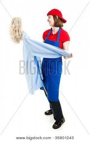 Teenage worker dancing with a mop, pretending it's a person. Full body isolated on white.