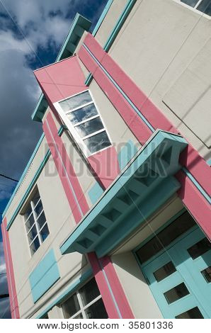 A detail of a newly restored art deco building in St John's, Newfoundland, Canada.