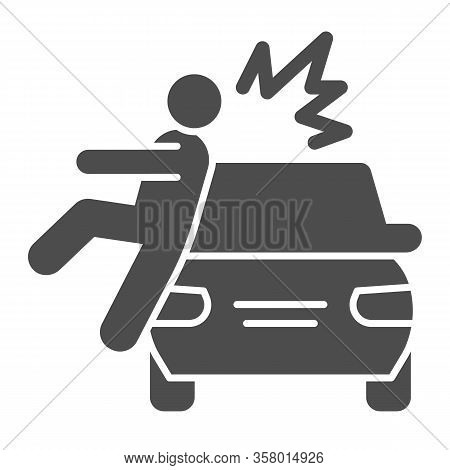 Collision With Pedestrian Solid Icon. Vehicle Knock Down Man With Smash Symbol, Glyph Style Pictogra