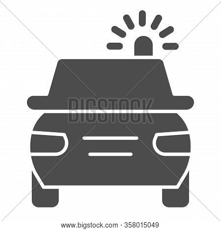 Police Car Solid Icon. Cop Automobile With Rooftop Flashing Lights Symbol, Glyph Style Pictogram On