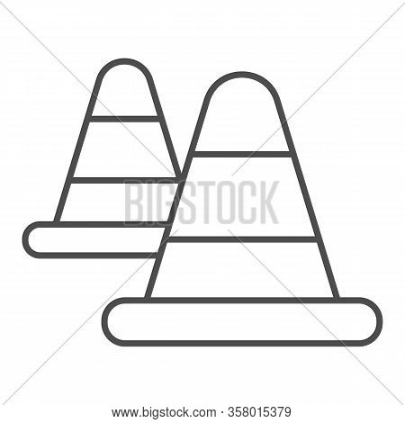 Roadblock Warning Cone Thin Line Icon. Traffic And Road Protection Cap Symbol, Outline Style Pictogr