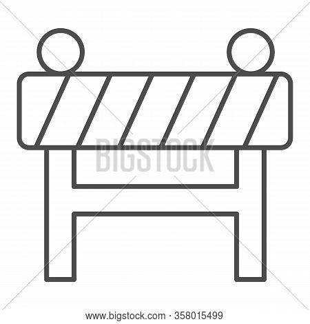 Barrier Fence Thin Line Icon. Under Construction, Road Caution Barricade Symbol, Outline Style Picto