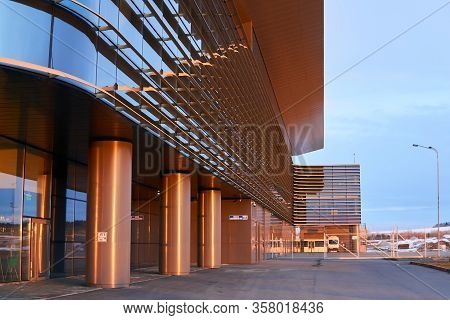 Perm, Russia - March 21, 2020: Fragment Of The Building Of The New Terminal Of Perm International Ai