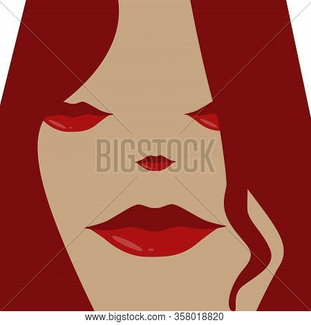 Female Face Vector. Beautiful Female Head With Red Hair. Red Lips. Icon Female Head On A White Backg