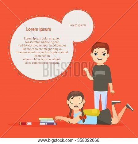 Vector Illustration Of Kids Bullying Template With Text Space. Psychological Abuse, Agressive School