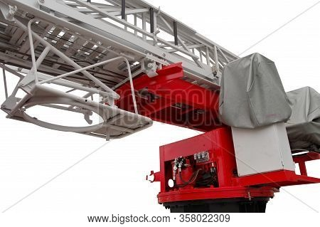 Top Of A Firetruck Ladder On White Background