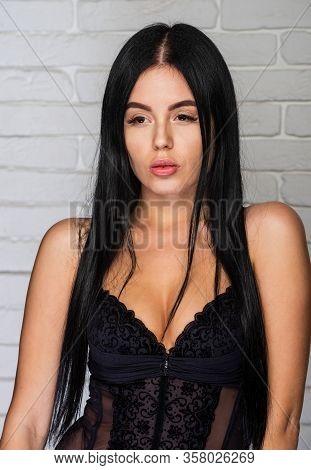 Sensual Female Breast. Sexy Beautiful Girl In Lace Underclothes. Sensual Seductive Attractive Brunet