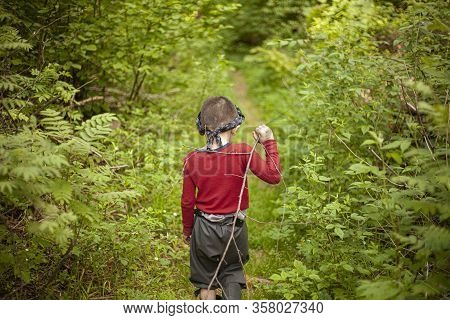 The Boy Walks Through The Woods Alone. A Child In A Red Sweater Is Among The Plants. A Five-year-old