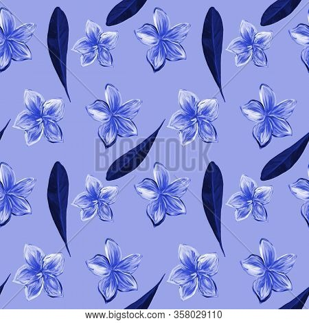 Frangipani Plumeria Tropical Flowers In Blue Monochrome. Seamless Pattern Background. Tropical Flora