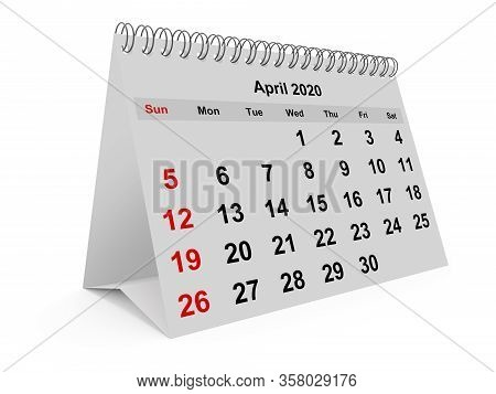 One Page Of The Annual Monthly Calendar - Month April 2020. 3d Render