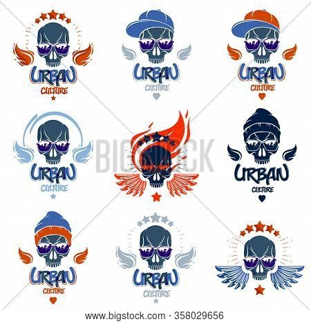 Skull In Sunglasses And Hat, Urban Theme Vector Logos Or Emblems Set, Gangster Or Thug Illustrations