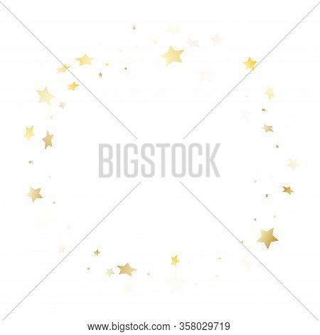 Flying Gold Star Sparkle Vector With White Background. Glittering Gold Gradient Christmas Sparkles G