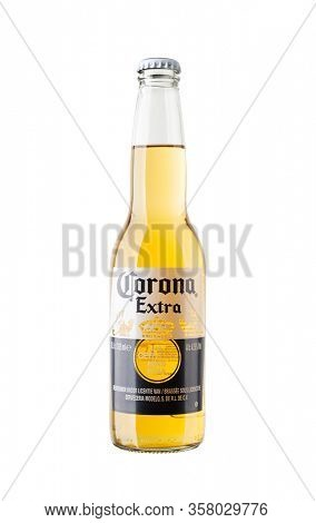 BAYONNE, FRANCE - CIRCA MARCH 2020: A bottle of Corona Extra beer isolated on white background.