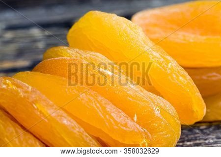 Lots Of Dried Apricots Together, Delicious And Sweet Healthy Fruits, High Calorie Due To Fructose Co