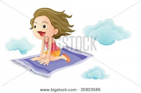 illustration of a girl flying on mat on a white background