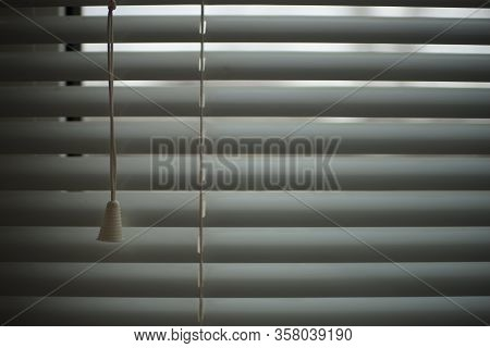 Closed Shutters And Rope, Jalousie Background, Metal Blinds.