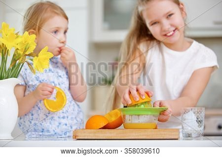 Two children squeeze orange juice in the kitchen with a citrus press