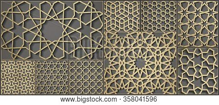 Set Of Seamless Symmetrical Abstract Vector Background In Arabian Style Made Of Emboss Geometric Sha