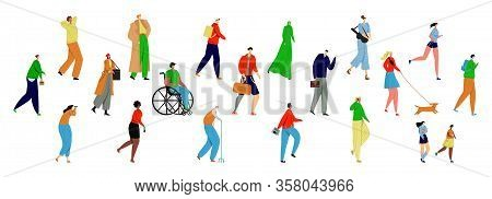 Vector Flat Set Of Walking People On White Background Of Different Ages, Genders, Skin Color, Nation
