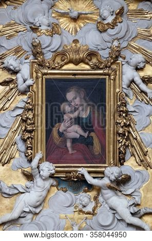 WEINGARTEN, GERMANY - JULY 12, 2018: Virgin Mary with baby Jesus, Virgin Mary altar in the Basilica of St. Martin and Oswald in Weingarten, Germany