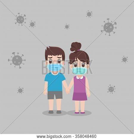Risk Group,children Boy Girl Wearing Protective Medical Mask For Prevent Virus Wuhan Covid-19.corona