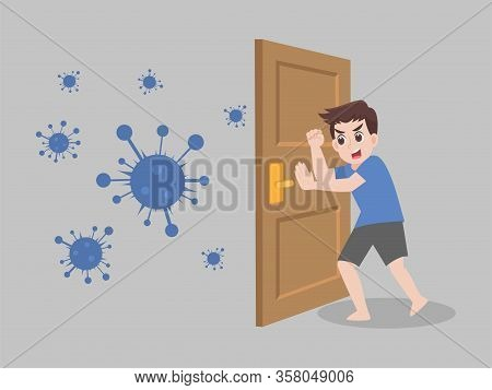 Stay Home Stay Safe. Social Distancing, People Keeping Distance For Decrease Infection Risk And Dise
