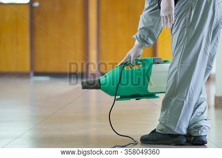 Disinfectant Sprayers And Germs That Adhere On Objects On The Surface. Prevent Infection Covid 19 Vi