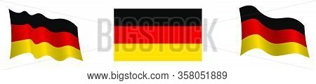 Flag Of The Federal Republic Of Germany In A Static Position And In Motion, Developing In The Wind,