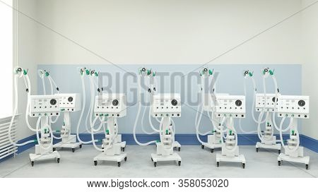 Many ventilators and respirators in stock in a clinic warehouse during coronavirus epidemic (3D Rendering)