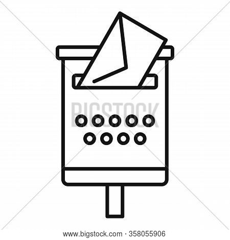 Newsletter Mailbox Icon. Outline Newsletter Mailbox Vector Icon For Web Design Isolated On White Bac